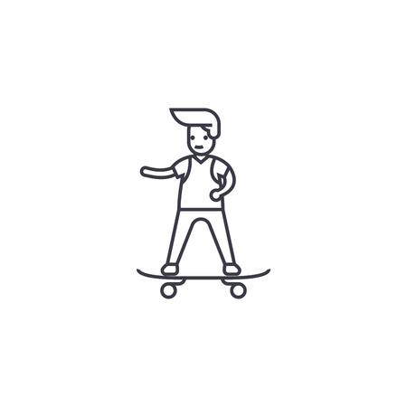 boy skateboarding vector line icon, sign, illustration on white background, editable strokes