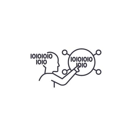 brain work vector line icon, sign, illustration on white background, editable strokes