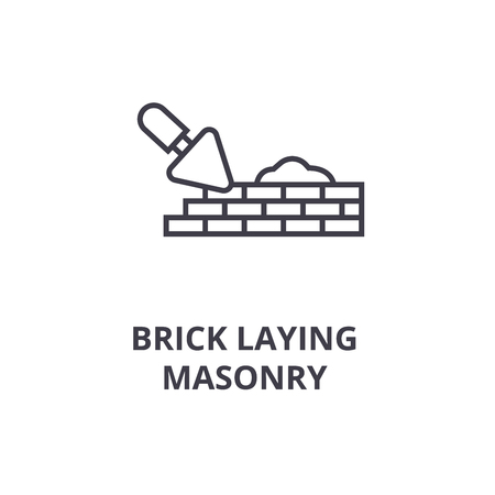 brick laying masonry vector line icon, sign, illustration on white background, editable strokes