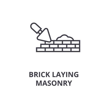 brick laying masonry vector line icon, sign, illustration on white background, editable strokes