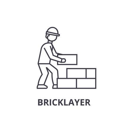 bricklayer vector line icon, sign, illustration on white background, editable strokes Фото со стока - 100816289