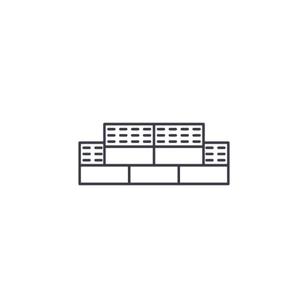 bricks vector line icon, sign, illustration on white background, editable strokes