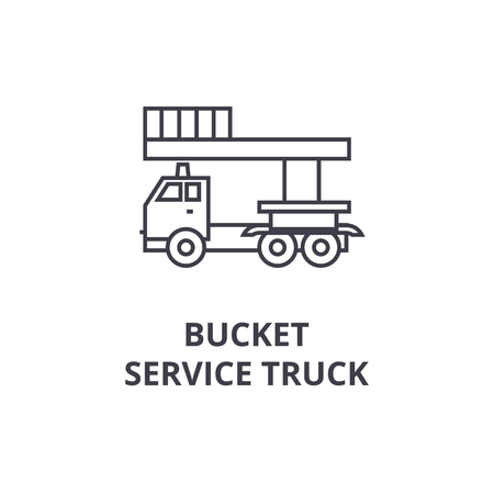 bucket service truck vector line icon, sign, illustration on white background, editable strokes
