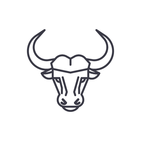 buffalo head vector line icon, sign, illustration on white background, editable strokes Vectores