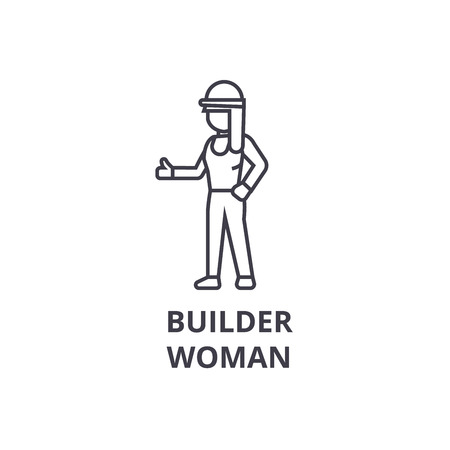 builder woman vector line icon, sign, illustration on white background, editable strokes