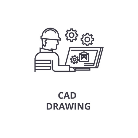 cad drawing vector line icon, sign, illustration on white background, editable strokes Vettoriali