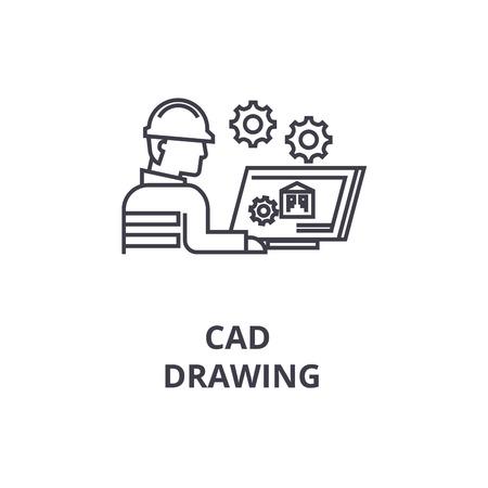 CAD-tekening vector lijn pictogram, teken, afbeelding op witte achtergrond, bewerkbare lijnen Vector Illustratie