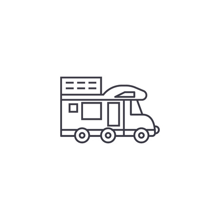 camping van vector line icon, sign, illustration on white background, editable strokes Illustration