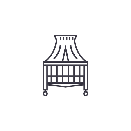 canopy bed vector line icon, sign, illustration on white background, editable strokes Çizim