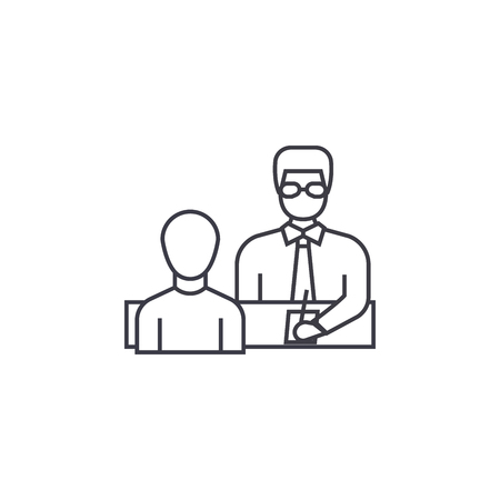 businessman giving instructions vector line icon, sign, illustration on white background, editable strokes