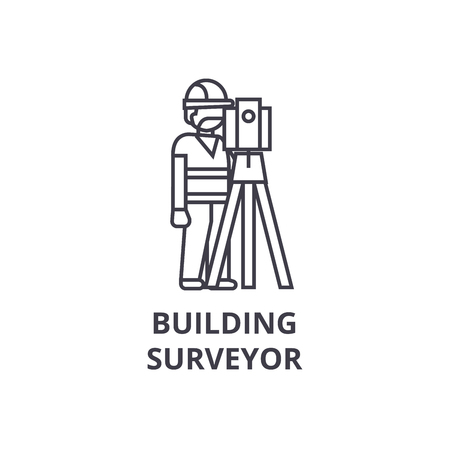 building surveyor vector line icon, sign, illustration on white background, editable strokes