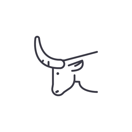 bull head vector line icon, sign, illustration on white background, editable strokes Illustration