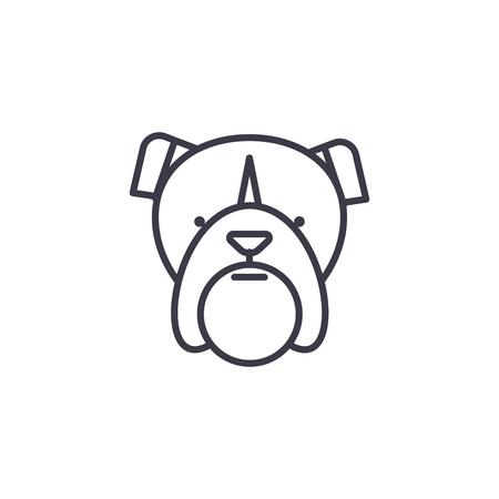 bulldog head vector line icon, sign, illustration on white background, editable strokes Stock Illustratie