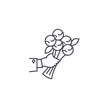 bunch of flowers vector line icon, sign, illustration on white background, editable strokes Illustration