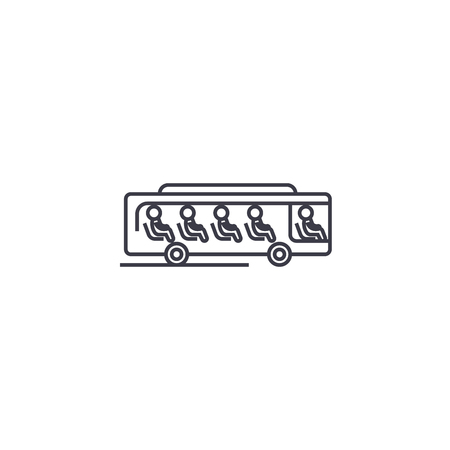 bus with passengers vector line icon, sign, illustration on white background, editable strokes
