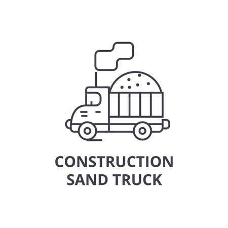 costruction sand truck vector line icon, sign, illustration on white background, editable strokes Illustration