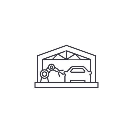 car assembly line vector line icon, sign, illustration on white background, editable strokes