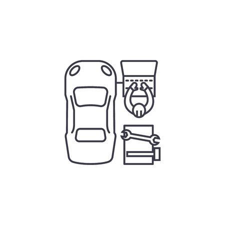 car diagnostics vector line icon, sign, illustration on white background, editable strokes Banque d'images - 100816584