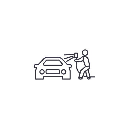 car washing vector line icon, sign, illustration on white background, editable strokes