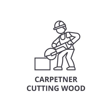 carpetner cutting wood vector line icon, sign, illustration on white background, editable strokes