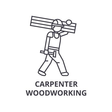 Carpetner carpintería vector línea icono, signo, ilustración sobre fondo blanco, trazos editables Ilustración de vector