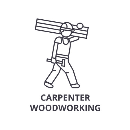 carpetner woodworking vector line icon, sign, illustration on white background, editable strokes