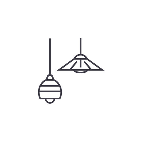 ceiling lamps vector line icon, sign, illustration on white background, editable strokes