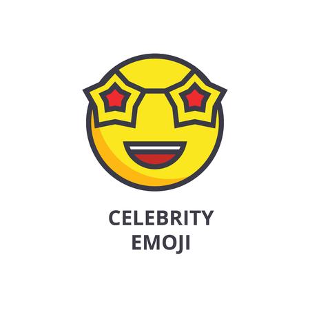 celebrity emoji vector line icon, sign, illustration on white background, editable strokes