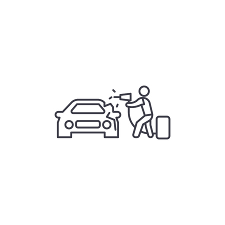 car foaming vector line icon, sign, illustration on white background, editable strokes