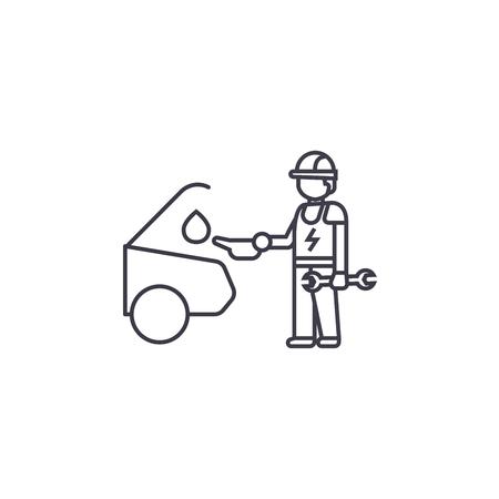 Icono de línea de vector de cambio de aceite de coche, signo, ilustración sobre fondo blanco, trazos editables