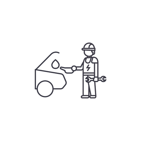 car oil change vector line icon, sign, illustration on white background, editable strokes
