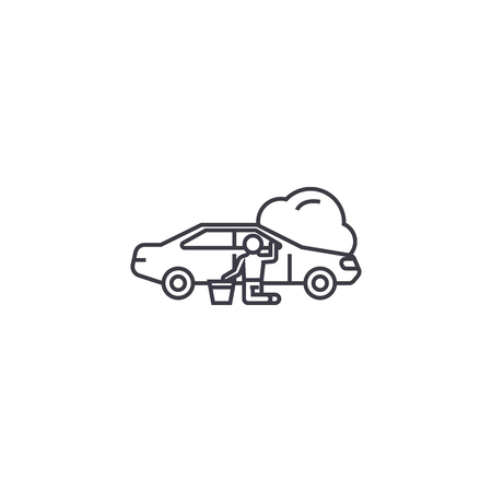 car repair vector line icon, sign, illustration on white background, editable strokes