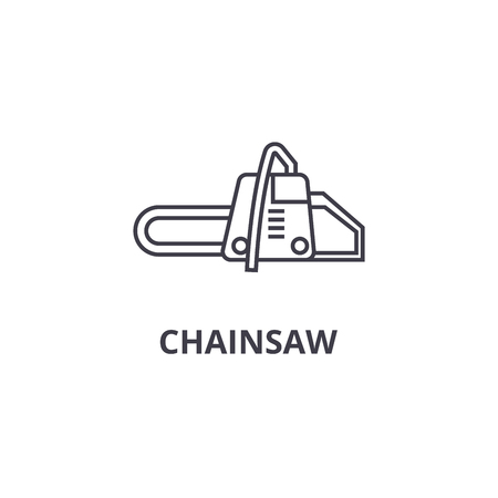 chainsaw vector line icon, sign, illustration on white background, editable strokes