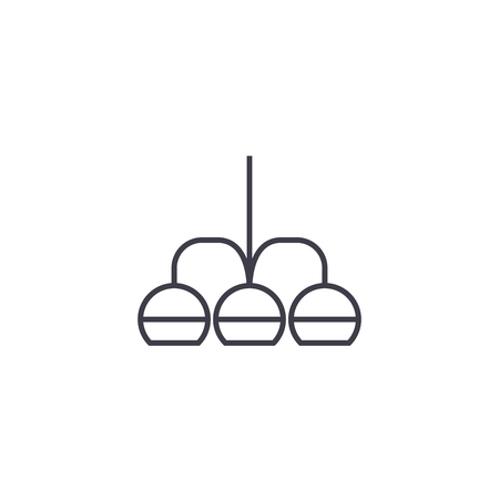chandelier vector line icon, sign, illustration on white background, editable strokes