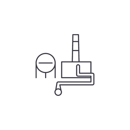 chemical plant vector line icon, sign, illustration on white background, editable strokes
