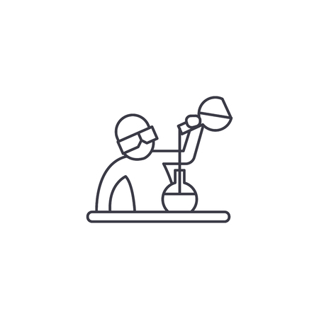 chemist at work vector line icon, sign, illustration on white background, editable strokes Banque d'images - 100816993