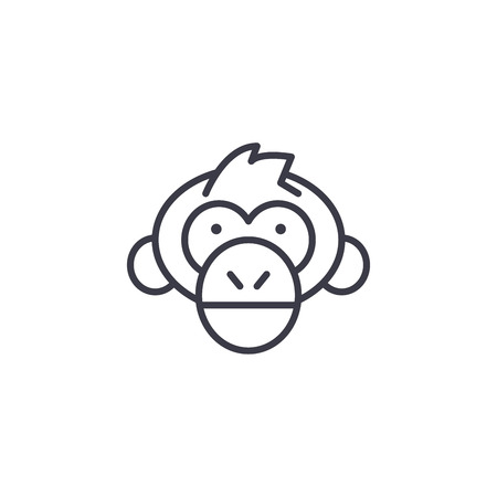 chimpanzee head vector line icon, sign, illustration on white background, editable strokes