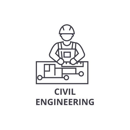 civil engineering vector line icon, sign, illustration on white background, editable strokes  イラスト・ベクター素材