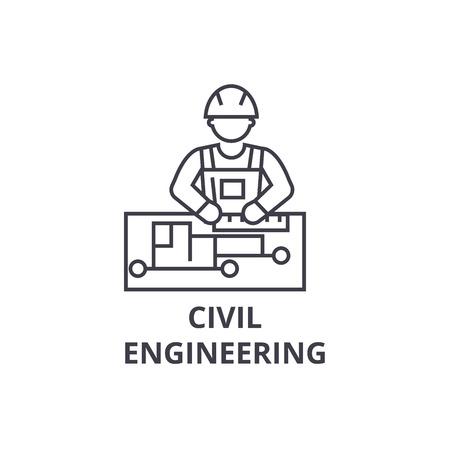 civil engineering vector line icon, sign, illustration on white background, editable strokes Illustration