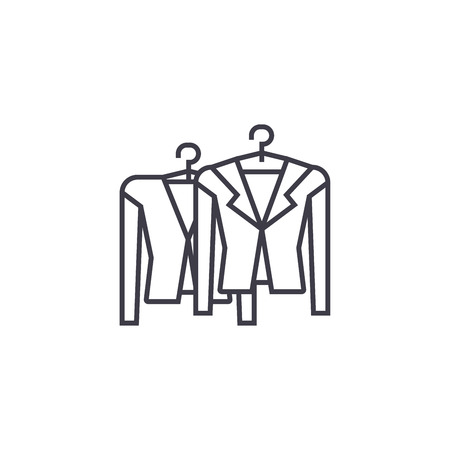 clothing on racks vector line icon, sign, illustration on white background, editable strokes