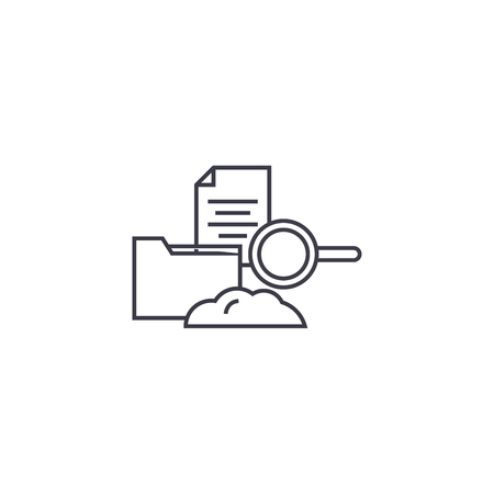 cloud hosting vector line icon, sign, illustration on white background, editable strokes