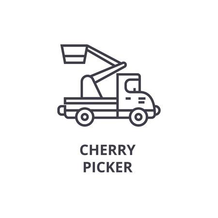 Cherry picker vector line icon, sign, illustration on white background, editable strokes