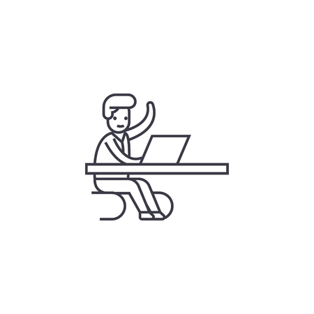 Coming in a moment in office vector line icon, sign, illustration on white background, editable strokes