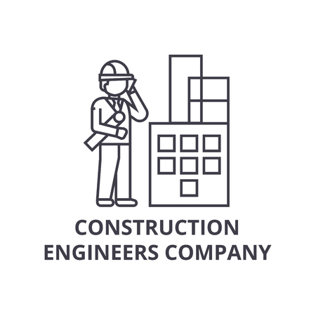 construction engineers company vector line icon, sign, illustration on white background, editable strokes