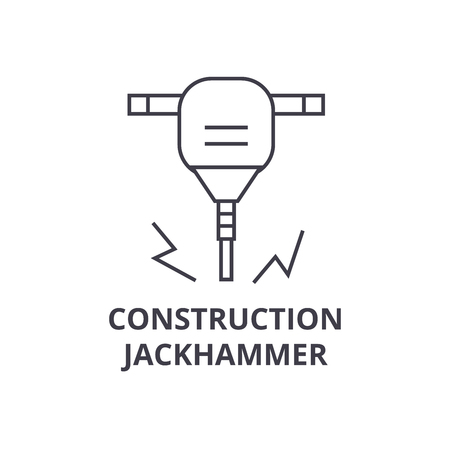Construction jackhammer vector line icon, sign, illustration on white background, editable strokes