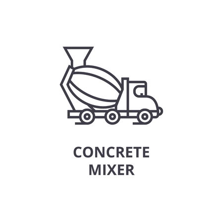 concrete mixer vector line icon, sign, illustration on white background, editable strokes Çizim
