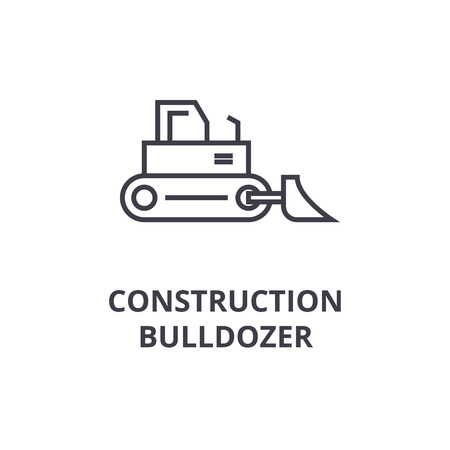 Construction bulldozer vector line icon, sign, illustration on white background, editable strokes