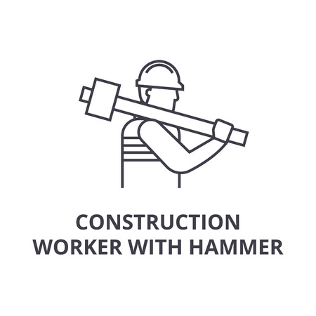 construction worker with hammer vector line icon, sign, illustration on white background, editable strokes