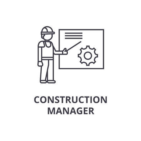 construction manager vector line icon, sign, illustration on white background, editable strokes