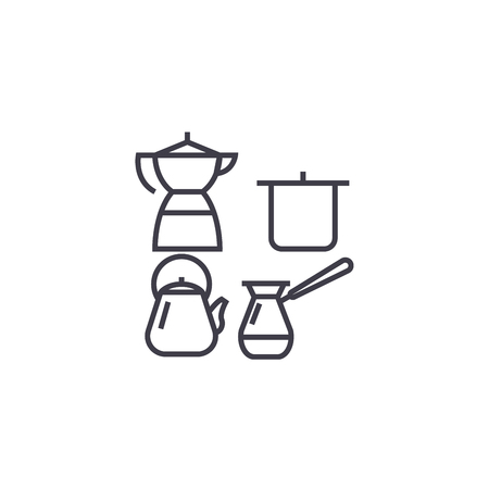 cooking utensils vector line icon, sign, illustration on white background, editable strokes 矢量图像
